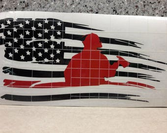 Thin red line - firefighter reflective red vinyl - flag decal