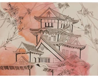 Asian Structure Watercolor and Ink original
