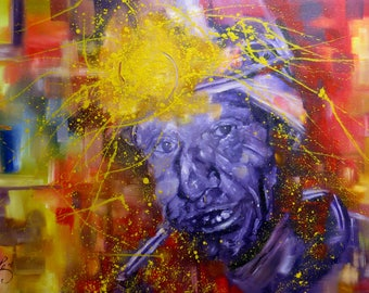 Oil on canvas painting. Colorful, figurative and large painting. Splash painting and abstract portrait of an native man from the Andes.