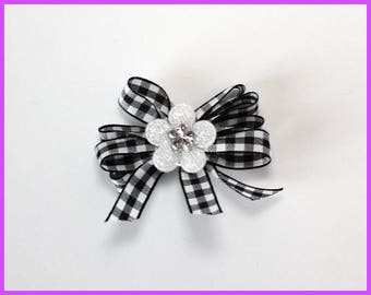 Black and White Flower Hair Clip
