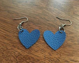 Faux Leather Heart Earrings