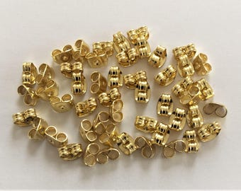 20 Pairs of Gold Plated Earring Butterfly Backs Scrolls.