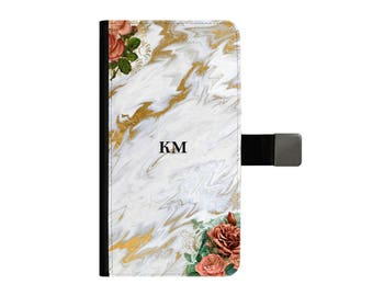 Custom Personalised Gold Marble Floral Small Initials Wallet Case iPhone 5 6 7 plus 8 10 X Samsung S6 S7 Edge  S8 Plus Custom Personalised