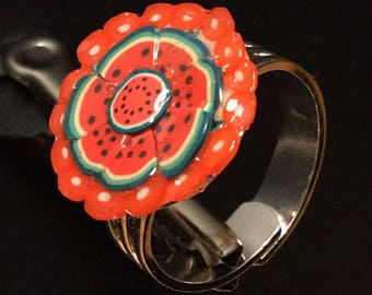 WATERMELON - adjustable silver ring