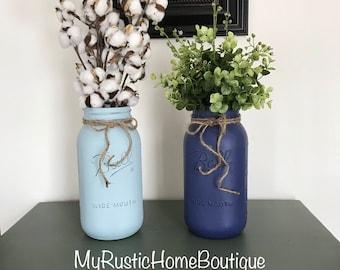 Cotton Arrangement/Cotton/Eucalyptus/Farmhouse Decor/Rustic Decor/Mason Jar Decor/Painted Jars/Mason Jar/Fixed Upper Decor/Rustic Home Decor