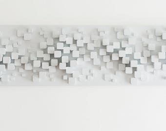 White Wall Art, Wood Sculptural Wall Art, Modern Wall Art, Modern Wall Decor, Modern Wood Wall Art, MCM Decor, Horizontal Wall Art