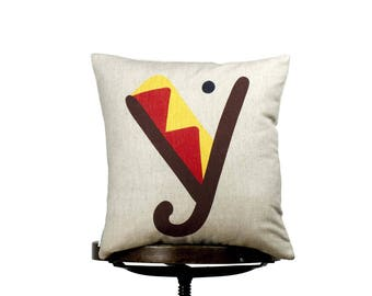 "Colorful Y monogram, bright color pillow cover, 16x16"", cotton cushion art cover, beige background, Multi-Coloured, Child-safe printing."