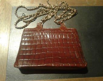 Authentic croc leather bag 1960ies