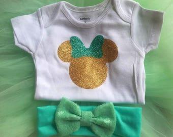 Ship in 24 hours,Tutu baby,Tutu girl,Minnie inspired,Minnie green,Minnie gold,Newborn tutu,Newborn onesie,Minnie baby,Minnie onesie