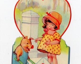 Vintage Girl With Hog Valentine   Girls, Child, Children, Pig, Pig Lover, Collectible, Pigs   Valentine's Day, Valentines  Paper Ephemera
