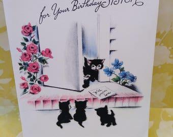 Vintage Buzza Cardozo Birthday Card/Cats/Kittens/Cat Cards/birthday cards/greeting cards/papercrafts/scrapbooking/ephemera/Flocked Cards