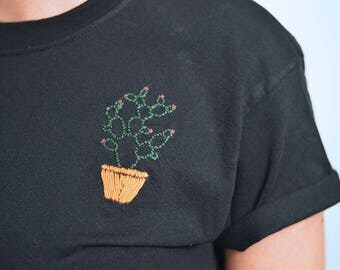 Hand Embroidered Cactus T-Shirt
