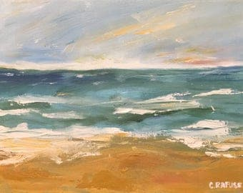 """9""""x12"""" Seascape oil painting on canvas. """"Ocean View""""."""