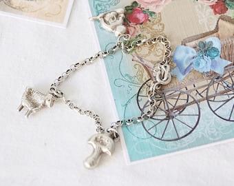 Vintage Sterling Silver Child's Bracelet, Charm Bracelet, Christening Gift