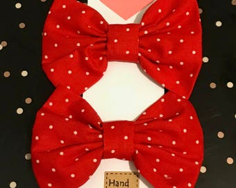 hair bows, fabric hair, cotton fabric hair bows, alligator clips, red hair bows, big bows, hair accessories, hair for girls, set of 2