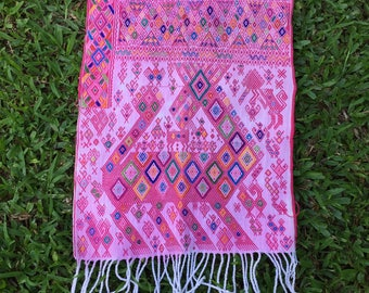 "Nauhalá Region Pink Hand Embroidered Shawl, Table Runner, Tapestry or Wall Hanging - 16.5"" wide, 78"" long"