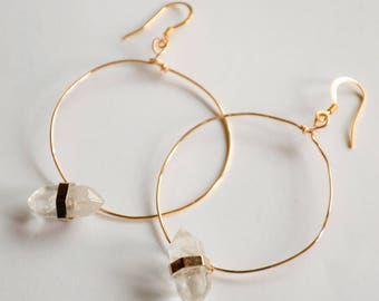 Gold Crystal Hoops