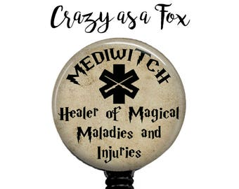 MediWitch or MediWizard Retractable Badge Holder,  Badge Reel, Lanyard, Stethoscope ID Tag, Nurse, RN, Student, Harry Potter inspired