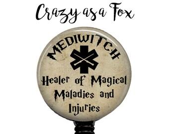 MediWitch or MediWizard Retractable Badge Holder,  Badge Reel, Lanyard, Stethoscope ID Tag, Nurse, RN, Student, Harry Potter inspired