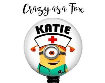 Nurse Minion Personalized Retractable Badge Holder, Badge Reel, Lanyard, Stethoscope ID Tag, Minions  Nurse, RN cna student Gift