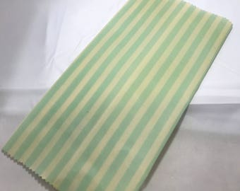 Reusable Cotton Beeswax Food Wrap Mint Green White Stripe Candy Pastel Small 20cm x 20cm Eco Friendly Natural Living