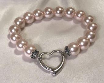 Pink pearl, heart bracelet