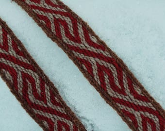 Baltic tablet weave, waistband, white, red, brown colors wool, clothing accessory, reenactment, unique detail in modern clothing