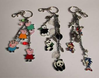 PEPPA PIG, Panda Or Sonic v MARIO Handbag Charm Keychain