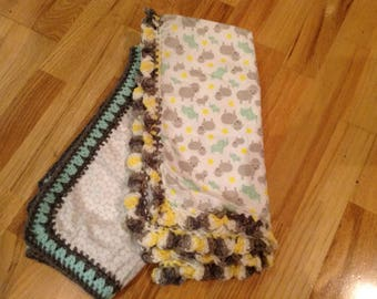 Crochet Edged receiving baby blankets