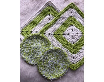 Crocheted Dishcloth and Pot Scrubby Set