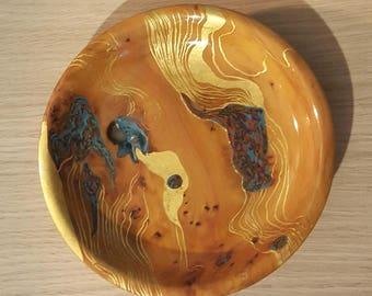 Coupelle en bois laquée motif abstrait