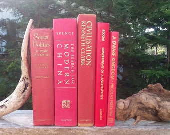 5 VINTAGE RED BOOKS Decor Book Set,