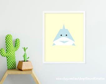 Printable Stylist Nursery Art Print_Shark/Kids room Wall art poster/child room decor 8x10, 50x70, A3, A4 Digital file INSTANT DOWNLOAD