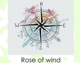 "compass cross stitch pattern ""Rose of wind"" Cross Stitch Instant Download PDF Modern Crossstitch Pattern"