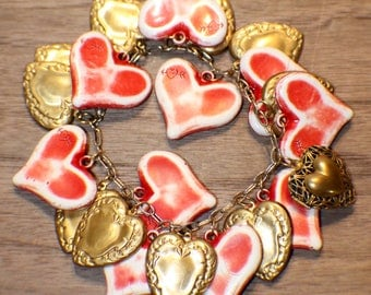 Heart Charm Bracelet - Brass - Mega Charm Collection - Recycled - Valentine's Day - Goldtone Red - Upcycled