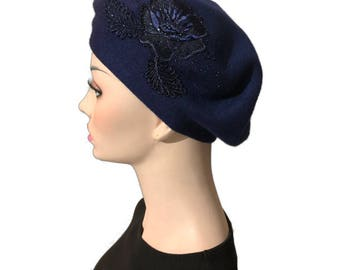Beautiful navy & beige beret/hat