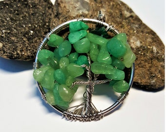 Green Aventurine Tree of Life Pendant Handmade