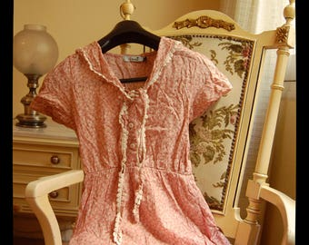 Cute Sailorette Collar Pink Flowery Dress