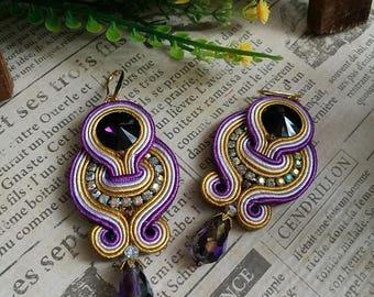 Elegant Violet Crystal Soutache Earrings Statement Dangle Ethnic Boho Chic Purple and Yellow Earrings