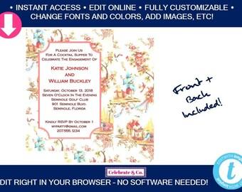Chinoiserie Bridal Invitation, Bridal Shower Invitation, Bridal Shower Invite, Party Invitations, Instant Download, Fully Editable, CI1