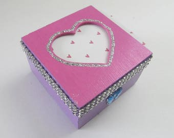 Wooden Valentine Heart Picture Frame Trinket/Jewel Box