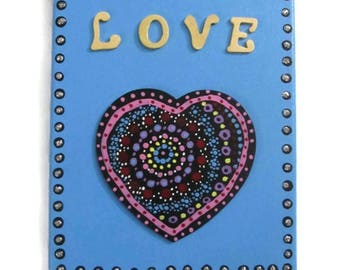 "Valentine Mandala Love Heart Wall Art Painting 10"" x 7 3/4"""