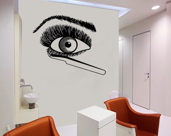 Wall Decal Window Sticker Beauty Salon Woman Face Eyelashes Lashes Eyebrows Brows t54