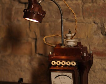 Steampunk table lamp from bakelite, metal, art déco, vintage, loft, unique