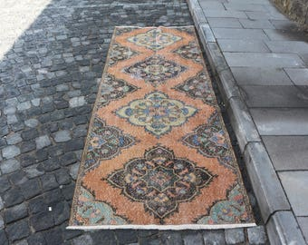 Turkish runner area rug Free Shipping 3.2 x 8.8 ft. bohemian hall rug, oushak rug, handknotted rug, stairs rug, pastel color rug, MB261