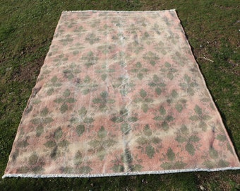 5 x 8 ft. Free Shipping boho rug, oushak rug, pink rug, flowered rug, turkish area rug, very good condition and ready to use rug, MB561