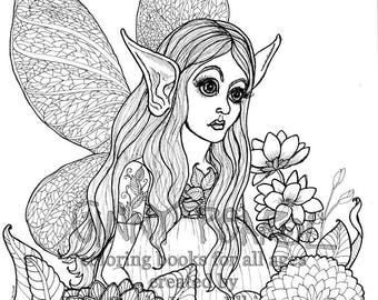 Fairy, High Def Digital Download Coloring Page for All Ages, Framable as is, illustration by Sande Jones-Elkins