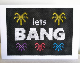 Lets Bang fireworks cross stitch pattern, instant PDF download, funny cross stitch, Valentines day cross stitch