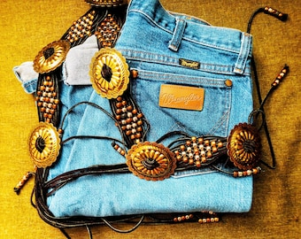 Unisex High Wasted Wranglers and bohemian belt