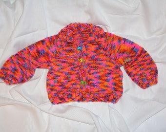 Multicoloured Baby Girl Cardigan Jumper